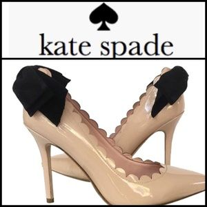 Kate Spade Emana Nude Patent Bow Pumps Size 8